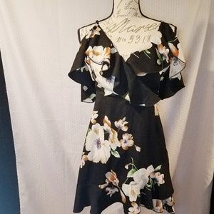Shein Cold shoulder black floral mini dress